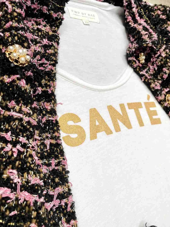 santé slogan t-shirt white | fwp by rae