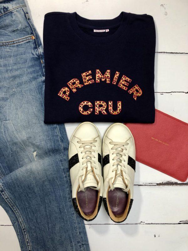 premier cru leopard print fine knit sweatshirt