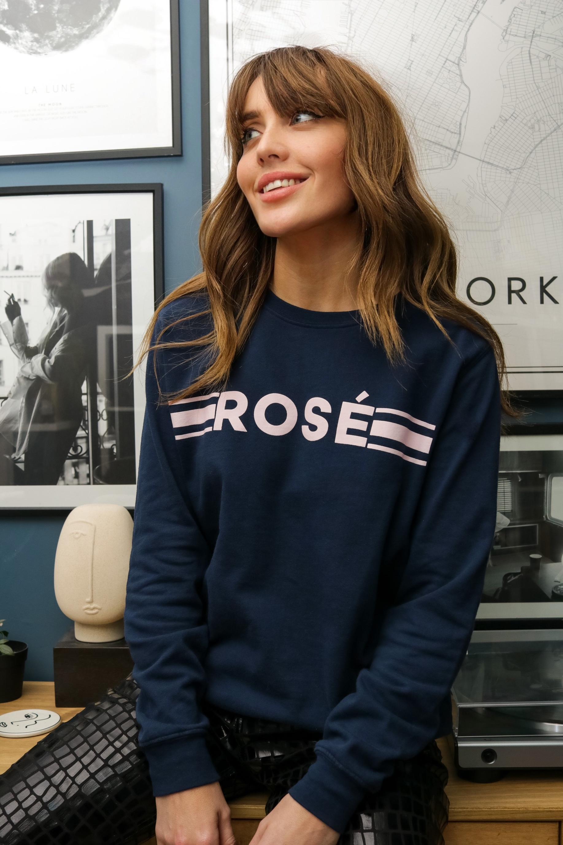 rosé retro sweatshirt fine knit