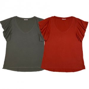 Angel sleeve t-shirt deep neck