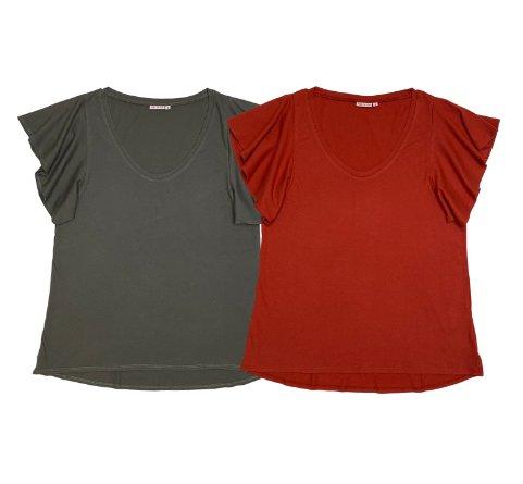Angel sleeve t-shirt deep neck