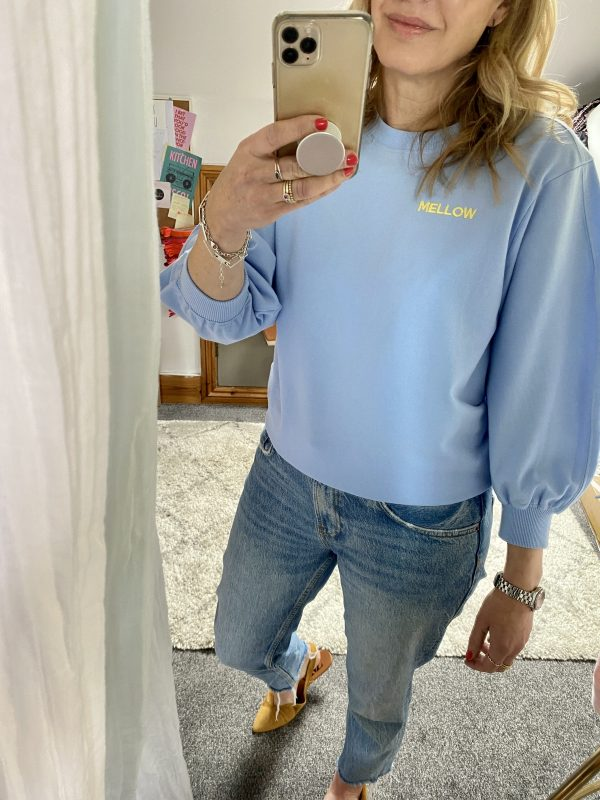 mellow embroidered puff sleeve sweater
