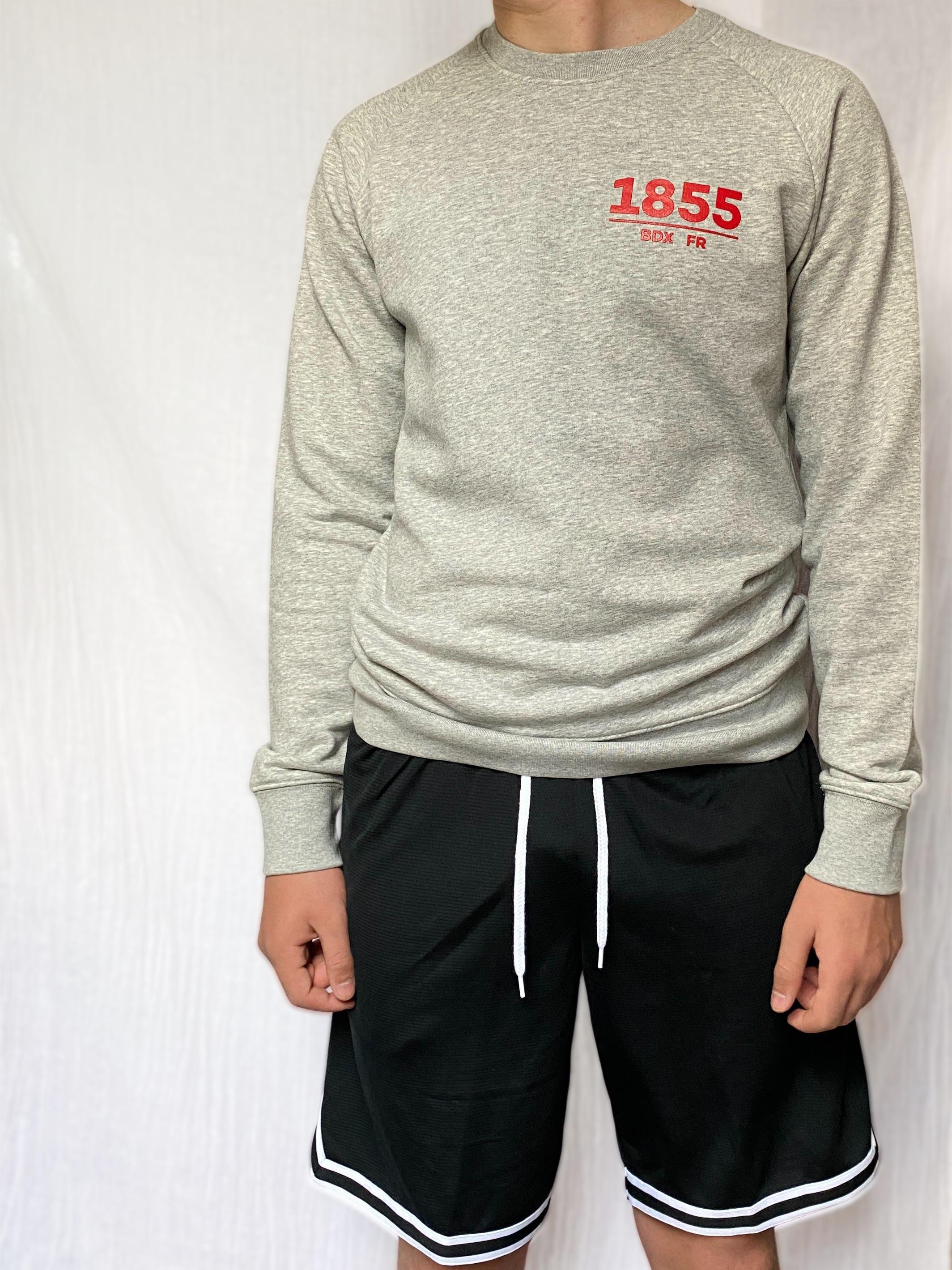 1855 bordeaux mens crew neck raglan sleeve sweatshirt