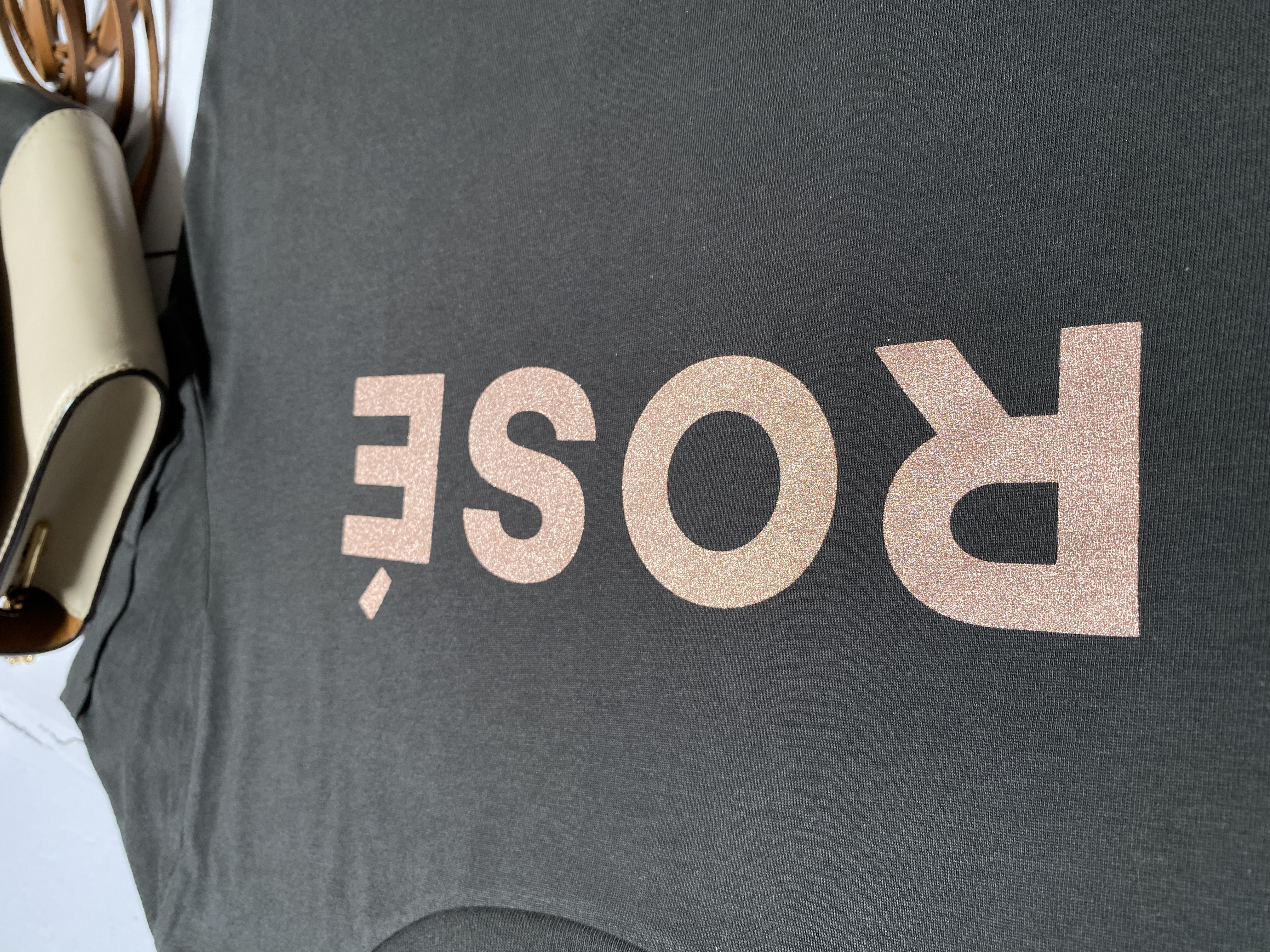 rosé tee faded black rose gold