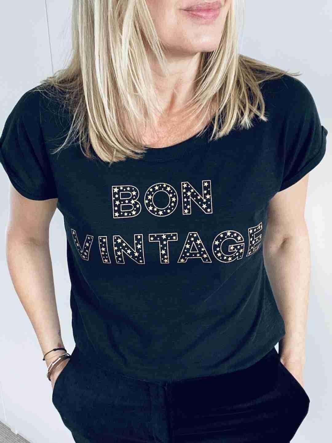 bon vintage stars tee black gold | fwp by rae
